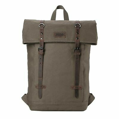 TRP0425 Troop London Heritage Canvas Leather Laptop Backpack Up To 15.6 Inch, Sm