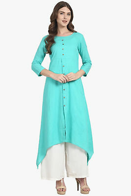 Indian Cotton Pakistani Kurti Aqua Blue Straight Kurta Exclusive Dress