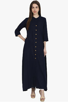 Indian Pakistani Kurti Nevy Blue Straight Kurta/Kurti Long Length