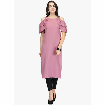 Indian Pakistani Kurti Pink Straight Kurta Exclusive Dress Round Neck