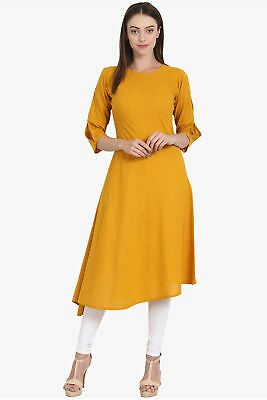Indian Round Neck Pakistani Kurti Kurta Exclusive Dress Mustard yellow