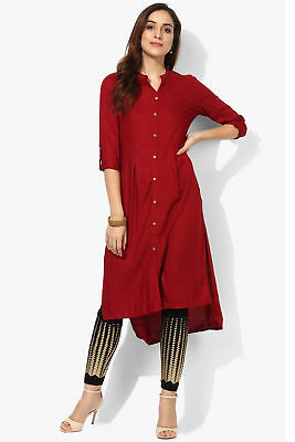 Maroon Indian Pakistani Straight Kurta Kurti Designer Dress Women Top Tunic
