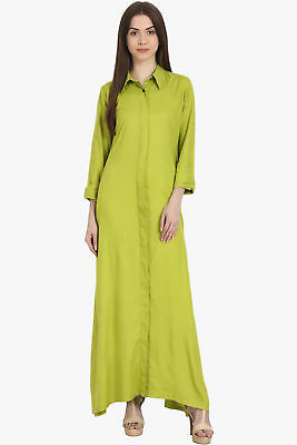 Indian Rayon Pakistani Kurti Green Straight Kurta Exclusive Dress