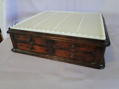 Rare S.S. White Antique Oak 5 Drawer Dental Medical  Tool & Drillbit Holder