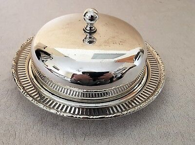 Silver plated 3 piece dish with glass liner & cover