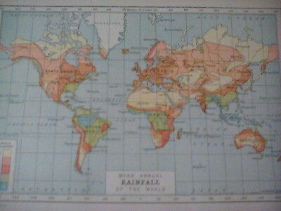 World Map of Rainfall 1920s Encyclopedia One Page 21x15cm to frame?