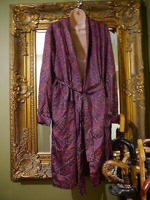 vintage courtaulds dicel red  paisley smoking jacket dressing gown size M L 40""