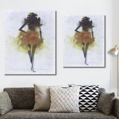 Yellow Girl Minimalist Abstract Art Canvas Oil Printed Paintings Framed/Unframed