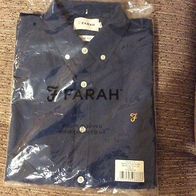 Farah Brewer, Ss-Mens Shirt, Short Sleeve, BNWT, Regatta Blue