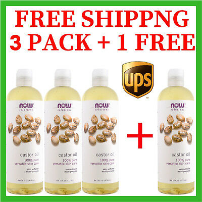 4 Castor Oil 100% Pure Multi-Purpose Hair &Skin 16oz Now Solutions Free Shipping