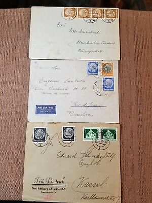 German Mail Cover Lot of 3, Nazi Era, WWII Era, Stamps, Cancelled