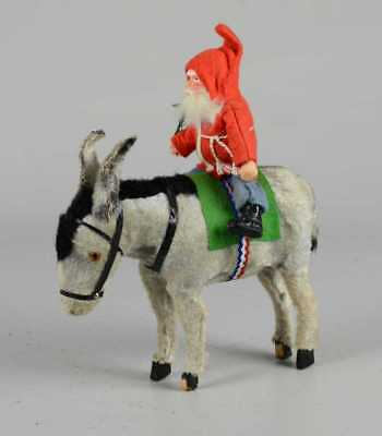 ANTIQUE GERMAN SANTA CLAUS RIDING ON DONKEY- EARLY 1900s