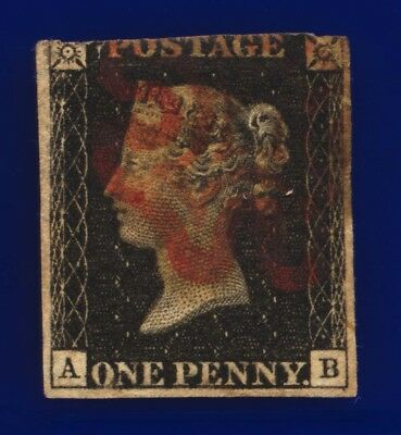 1840 SG2 1d Black 3 Margins Plate 8 AS46 AB Red MX ccez
