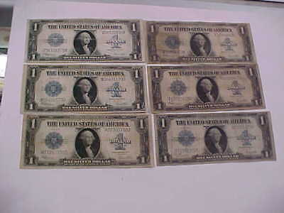 Six 1923 Large  Silver Certificate  United States Large Currency Notes Great Lot