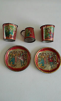 RARE 1890's ANTIQUE TIN LITHO 5 PC TEA SET CINDERELLA & PRINCE CHARMING GERMANY
