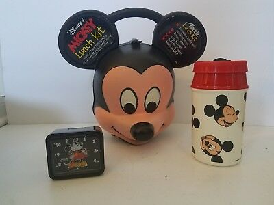 NEW Vintage Aladdin Mickey Mouse head Lunchbox with Thermos + lorus alarm clock