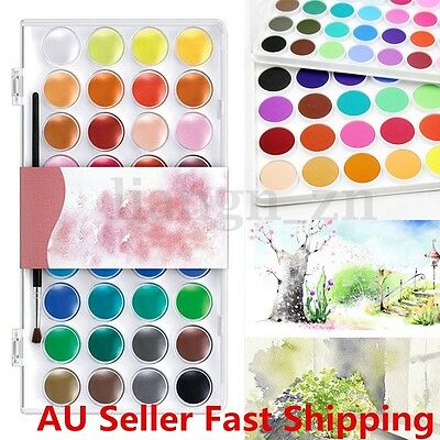 36 Assorted Colors Solid Watercolor Cake Artist Painting Pigment Brush Box Set