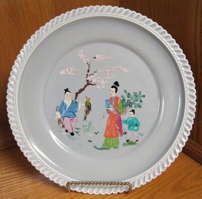 Chesterton Ware Gray 9 1/4-Inch Dinner Plate Asian People Bird Tree Hand painted