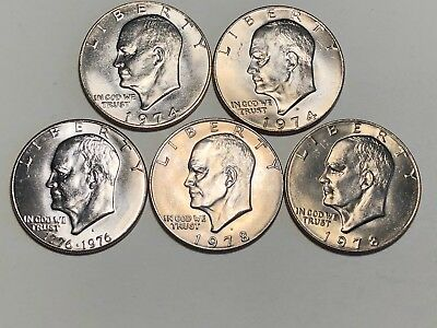 Lot of 5 Eisenhower Ike Dollars Clad Uncirculated 1974 1976 1978  EDL 551
