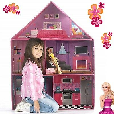 Dollhouse For Girls Playing Room Mansion Pop-up Christmas Gift Play Doll House