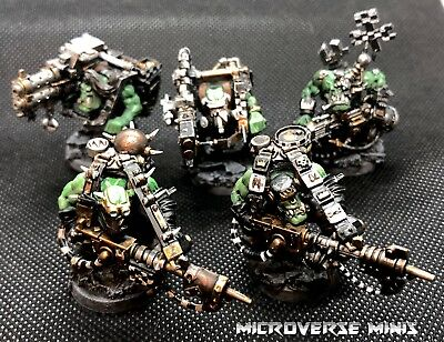 5 Goff Ork Lootas And Burnaboys, Well Painted, Custom Bases, Warhammer 40k