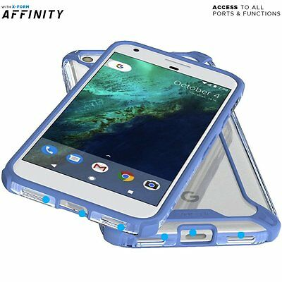 For Google Pixel 2016 [Poetic] Clear Shockproof 360° Bumper TPU Cover Case Blue