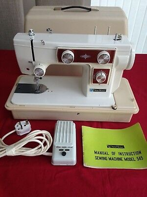 NewHome Vintage Electric Sewing Machine - Model 545 - With Pedal, Manual, Case