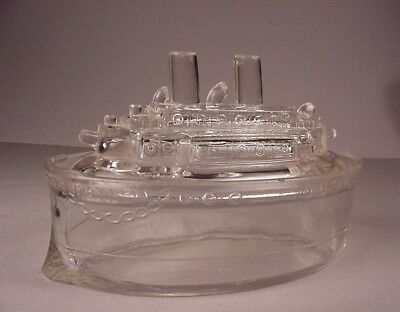 Antique EAPG Olympia battle ship glass container 1800's mustard jar with lid