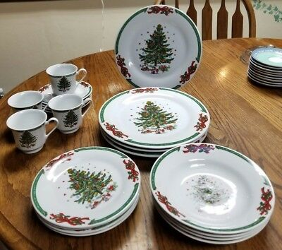 Christmas In The Park Holiday China Dinnerware Your Choice Bows Holly Snow Tree