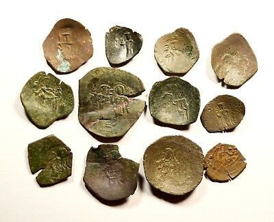 Lot Of 12 Ancient Byzantine Cup Coins - 036