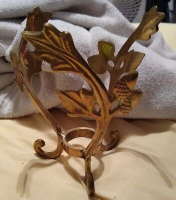 Brass Sphere Ball Orb Plant Stand Holder with Leaves Acorns Vintage