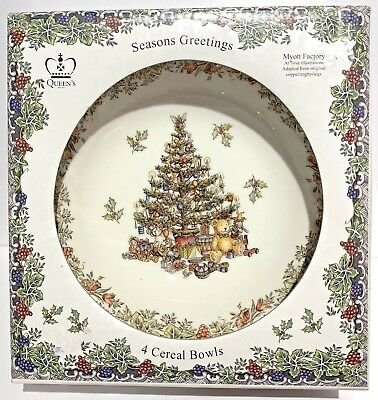 NEW Queen's Seasons Greetings Christmas Set of 4 Cereal/Soup Bowls,Myott Factory