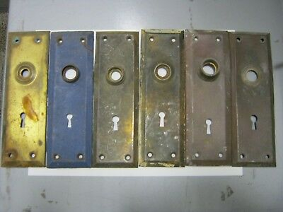 Lot Of 6 Antique Vintage Door Knob Key Hole Lock Plate Part Salvage