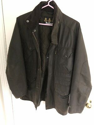 Barbour Sapper Olive Sylkoil Waxed Cotton Jacket- Size Small