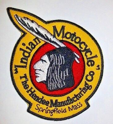 "Indian Motorcycle Co. Biker Embroidered Patch~3 3/8"" x 2 3/4""~Iron On~Ships FREE"