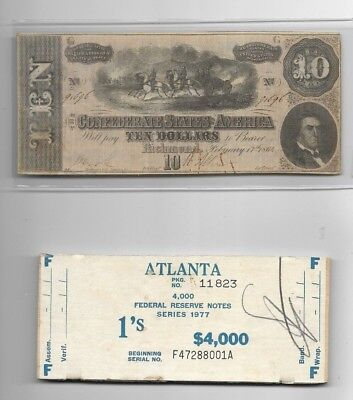 "$10 (Confederate Note) Nice! 1800's $10 (Free $1 Money Top Of $4000) !! ""rare""!!"