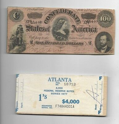 $100 (Confederate Note) Nice! 1800's $100 (Free $1 Money Top Of $4000) $100 Rare