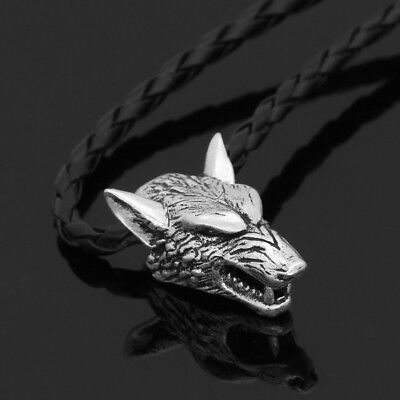 Norse Viking Pendant Norse Wolf Head Mens Necklace Animal Amulet Black Cord