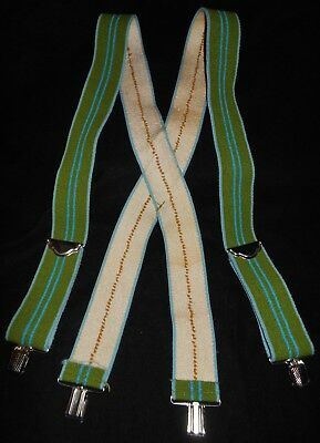 Mid Cent Vtg Suspenders w/ Adjustable Metal Clamps Green & Blue Stripes 50's