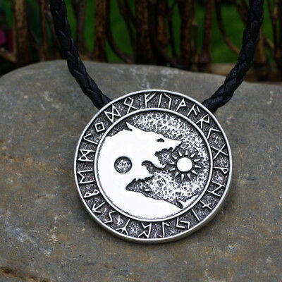 Viking Necklace Norse Nordic Wolf Pendant Celtic Pagan Men Amulet Jewelry Silver