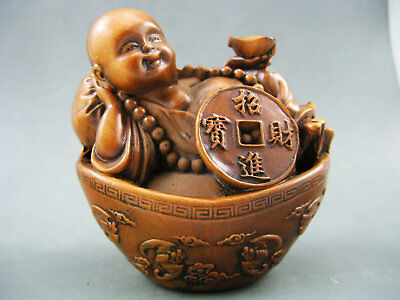 Rare Antique Boxwood Hand-Carved Buddha Ancient coin feng shui Netsuke Statue