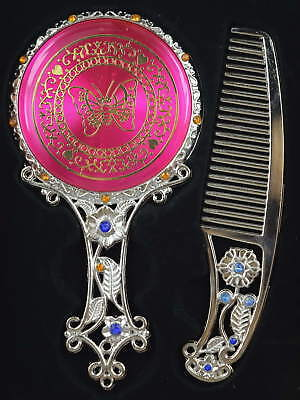 China Tibet Silver Gold Plating Flower Butterfly Set Hand Mirror Comb & Gift Box