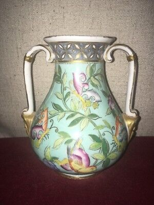 Royal Crown Derby Beautifully Detailed Aesthetic Movement Vase Masks Birds Flora
