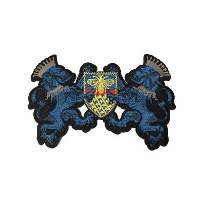 Blue Lion Bee Crest (Iron On) Embroidery Applique Patch Sew Iron Badge