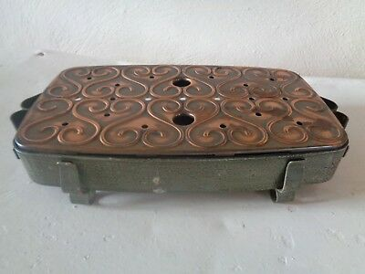 Unusual Vintage 2 Burner Table Top Candle Copper  Handmade? Food Warmer
