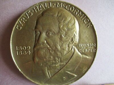 Bronze 2 3/4' (70 mm) Medallion Cyrus Hall McCormick, Inventor of the Reaper