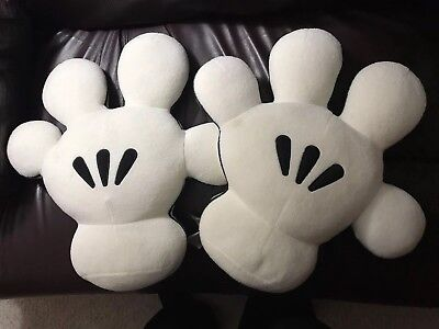 2 Disney Mickey Mouse Large Hand Pillow Lot; RARE; retired