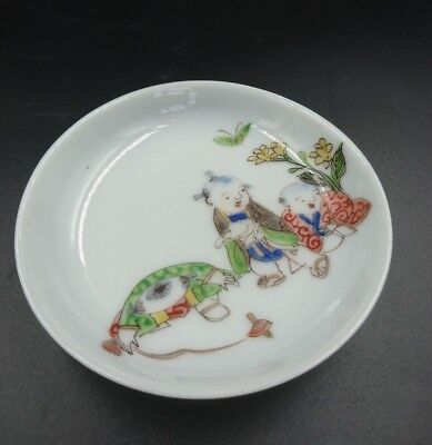 Vintage Chinese Porcelain Sauce Dipping Bowl, hand-painted children playing,