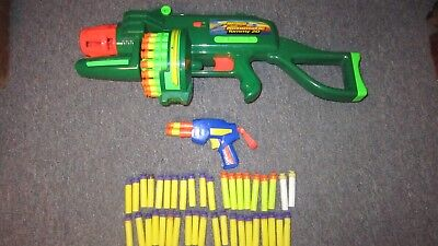 Lot BuzzBee Toys Automatic motorized Tommy 20 dart blaster gun & mini - Nerf