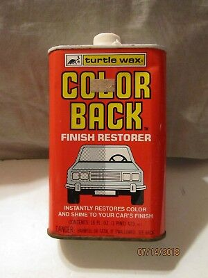 Vintage 1980 Color Back 16 fl oz Tin Can 1/4 Full by Turtle Wax Inc USA